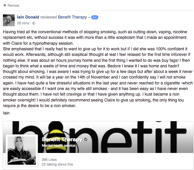 Iain quit smoking for good with hypnotherapy!